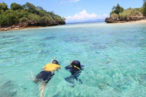 snorkeling di Gili Petelu atau Pulau Tiga yang jernih